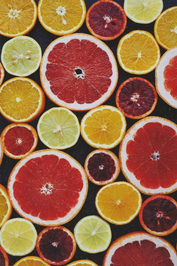 top view photo of sliced citrus fruits